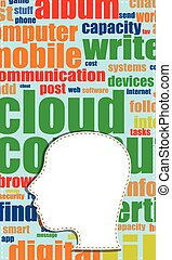 hoofd, vector, woord, zakelijk, tekst, concept., collage., networking., topic, label, woorden, sociaal, silhouette, wolk, wolk