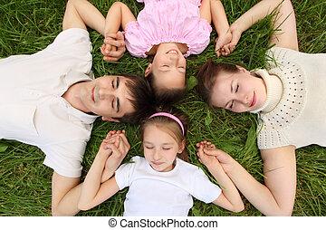 hoofd, verbonden, kinderen, gras, bovenzijde, ouders, handen, hoofd, hebben, het liggen, aanzicht