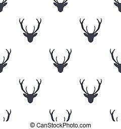 hoofd, vrijstaand, hertje, pattern., wallpaper., illustratie, seamless, symbolen, achtergrond., vector, deers, dier, wild, icon., liggen, witte , retro