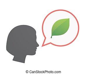 hoofd, vrijstaand, vrouwlijk, groen blad