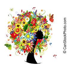 hoofd, vrouw, blad, hairstyle, quatres saisons, bloemen,...