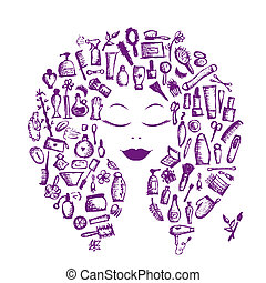 hoofd, vrouw, concept, schoonheidsmiddel, accessoires,...