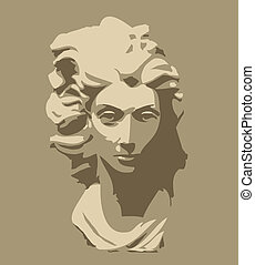 hoofd, vrouw, gebeeldhouwd kunstwerk, marmer