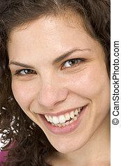 hoofd, vrouw, grit, het glimlachen