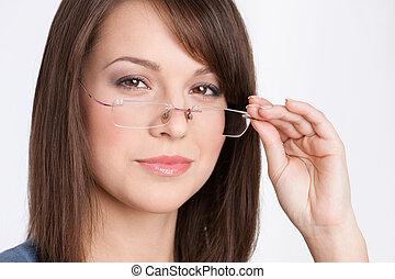 hoofd, vrouw, grit, zakelijk, bril