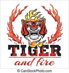 hoofd, vuur, -, illustratie, hand, tiger, vector