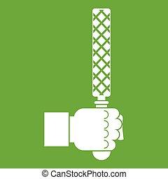hoofd, werktuig, groene, bestand, man, pictogram