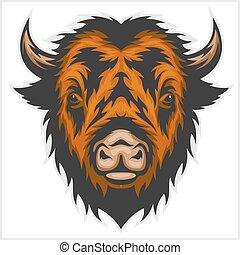 hoofd, witte , buffel, vrijstaand, illustratie