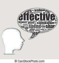 hoofd, woord, illustration., zakelijk, tekst, concept., collage., label, networking., topic, vector, woorden, sociaal, silhouette, wolk, wolk
