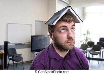hoofd, zijn, aantekenboekje, man