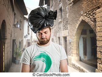 hoofd, zijn, afval, troep, man