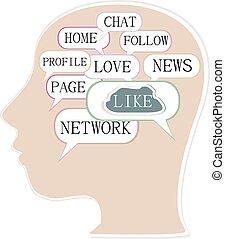 hoofd, zijn, silhouette, collage., networking., topic, woorden, sociaal, woord