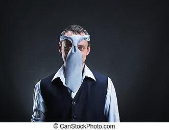hoofd, zijn, vreemd, stropdas, man