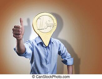 hoofd, zijn, zakenman, instead, munt, eurobiljet