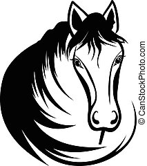 hoofd, zwart paard, manen