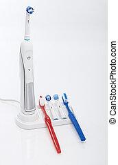 hoofden, elektrisch, moderne, tandenborstel, wiegje, sparen, borstel