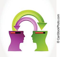 hoofden, overbrengen, information., illustratie