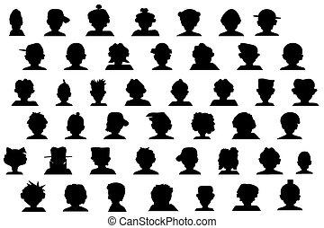 hoofden, silhouette, spotprent