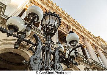 hoofdingang, set, opera, ouderwetse , lantaarntje, paris., nagemaakt, historisch, woning, frankrijk