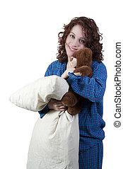 hoofdkussen, vrouw, het koesteren, beer, teddy