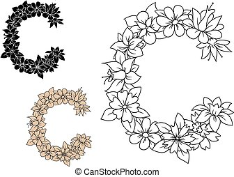 hoofdletter, c, met, ouderwetse , bloemen