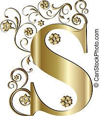 hoofdletter, s, goud