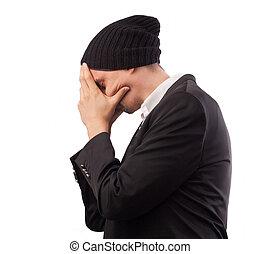 hoofdpijn, beslissen, jonge, moe, op, dekking, vrijstaand,...