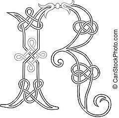 hoofdstad, keltisch, brief, knot-work, r