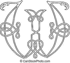 hoofdstad, keltisch, brief, knot-work, w