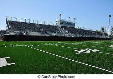 hoog, amerikaan voetbal, school, stadion