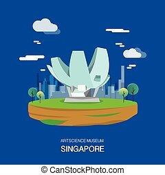 hoog, artscience, singapore, museum, illustratie, design.vector, technologie