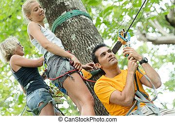 hoog, avontuur, park, draad, beklimming