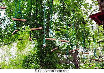 hoog, beklimming, draad, park, avontuur