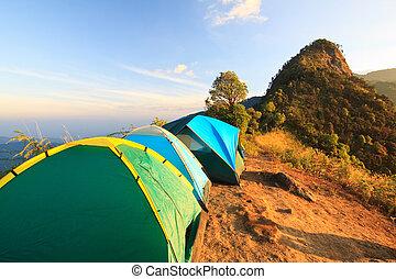 hoog, berg, kamperen