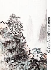 hoog, berg, schilderij, chinees