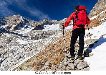 hoog, berg, verrichtend, wandelaar, panorama