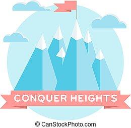 hoog, bergen., plat, ontwerp