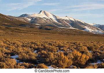 hoog, de piek van de berg, groot, spoelbak, gebied, nevada,...