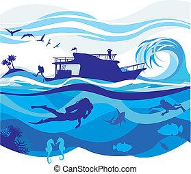 hoog, duiken, overzees