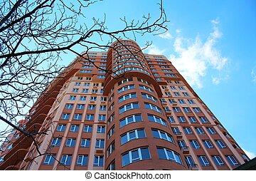 hoog, gebouw, rijzen, flat, moderne