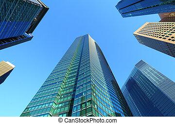 hoog, gebouw, rijzen