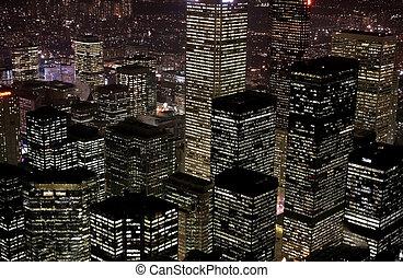 hoog, gebouwen, rijzen