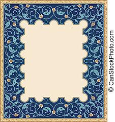 hoog, gedetailleerd, frame, kunst, islamitisch
