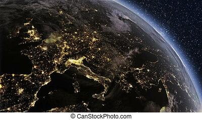 hoog, gedetailleerd, planeet land, europa