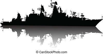 hoog, gedetailleerd, scheeps , silhouette