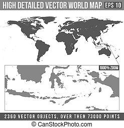hoog, gedetailleerd, vector, wereldkaart