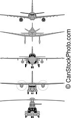 hoog, gedetailleerd, vliegtuigen