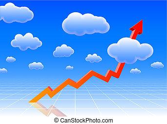 hoog, grafiek, resultaten