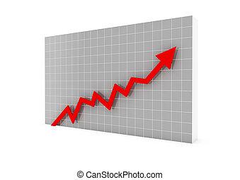 hoog, grafiek, richtingwijzer, rood, 3d
