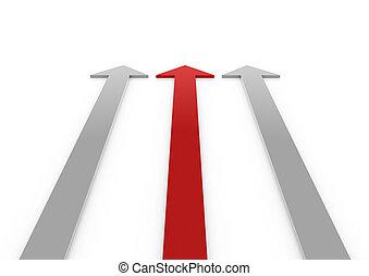 hoog, grijs, rode pijl, 3d